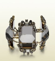 Gucci Bracelet in Metal with Black Resin Black and Grey Strass.