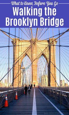 Walking the Brooklyn Bridge . What to Know, Before You Go - Walking the Brooklyn Bridge in NYC … everything you need to know, before you go! Wondering what t - Brooklyn Bridge Walk, New York Bucket List, York Things To Do, Manhattan Skyline, Lower Manhattan, New York City Travel, Brooklyn New York, United States Travel, Travel Usa