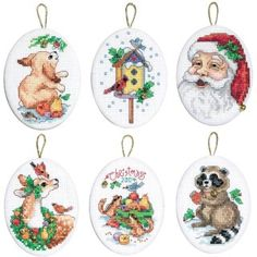 Santa and Animals Ornaments - click here for more details about this counted cross stitch kit