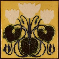 Art Nouveau tile, made by: SA La Majolique, Emptinne, Belgium. Made around 1900. Decorations of flowers in relief in the colours blue, dark green and white. The tile is in very beautiful condition. The back of the tile is quite damaged on one of the corners. The tile is 17.5 x 17.5 cm and 1.5 cm thick. Will be packed carefully, shipments within the Netherlands via PostNL, international shipments via DHL, all packages will be sent with a track & trace number.