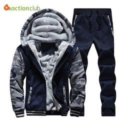 ACTIONCLUB Tracksuit Men Winter Thick Inner Fleece Hoodie Men Hat Casual Active Coat Men Zipper Outwear 2PC JacketPants (32725888073)  SEE MORE  #SuperDeals