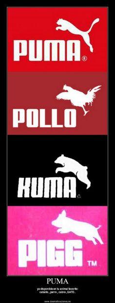 Puma y las variantes de su logo y marca.