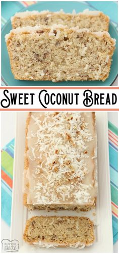 Sweet Coconut Bread is a moist sweet bread made with milk, flour, coconut and pecans. Topped with a sweet coconut glaze, flake coconut and more pecans, you won't be able to resist a slice! from BUTTER WITH A SIDE OF BREAD Coconut Bread Recipe, Best Bread Recipe, Quick Bread Recipes, Coconut Recipes, Baking Recipes, Coconut Quick Bread, Potato Recipes, Pecan Bread Recipe, Coconut Banana Bread