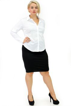 Plus Size Long Sleeve Button Down Office White Shirt | Danice Stores Classic cotton blend long-sleeved shirt. The shirt has a buttoned front, buttoned cuffs and a basic collar. Lightweight, woven, unlined.