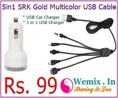 5 in 1 SRK GOLD Multicolor USB Cable Rs 99