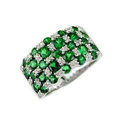 Green Garnet & Diamond Ring ... <3