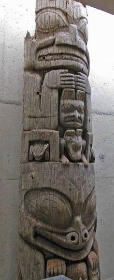Naaxwa GyaaGang (Interior house post) Haida: Kunghit SGaang Gwaay Linagaay (Ninstints, Haida Gwaii, BC) Red cedar and metal, carved and hollowed, 1850 or earlier - Interior back post of House 17 (Raven House) BC Totem Pole Preservation Committee purchase, 1957 A50016