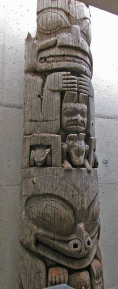 Naaxwa GyaaGang (Interior house post) Haida: Kunghit SGaang Gwaay Linagaay (Ninstints, Haida Gwaii, BC) Red cedar and metal, carved and hollowed, 1850 or earlier - Interior back post of House 17 (Raven House) BC Totem Pole Preservation Committee purchase, 1957 A50016