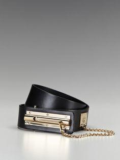 Chanel Black Lambskin Latch Lock Belt.