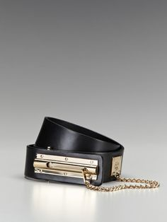 Chanel Black Lambskin Latch Lock Belt.