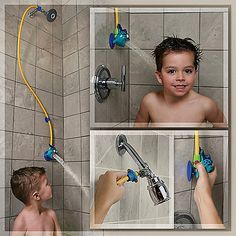 Make the shower fun for your little one with this adorable showerhead featuring a friendly little fish. Its three-foot detachable hose quickly connects and detaches with your adult showerhead for an easy transformation to a kid-friendly shower.
