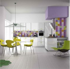 Love to see a kitchen that is both contemporary and pretty, such a delightful colour combo.