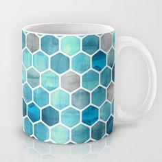 Blue Ink - watercolor hexagon pattern Mug by micklyn - $15.00