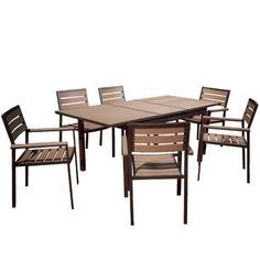 Laguna 7 Piece Frame Outdoor Dining Set by NFusion. $1452.14. 216401 Features: -Material: Poly wood, aluminum.-Expandable center part of table. Includes: -Includes 6 Chair and 1 Table. Color/Finish: -Color: Brushed Grey.