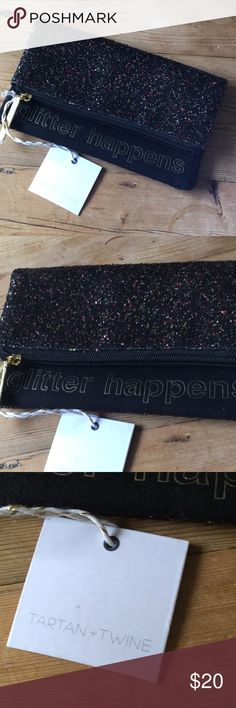 """Tartan & Twine Black Glitter Happens Cosmetic Bag NWT Tartan &Twine Black multi colored glitter """"glitter happens"""" cosmetic bag.  Approx. 7.5"""" wide, 8"""" High.  Happy to answer questions, thanks!❤️ Tartan & Twine Bags Cosmetic Bags & Cases"""