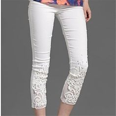 Women's Casual/Plus Sizes Stretchy Thin Skinny Pants ( Lace/Cotton )(1503857) – EUR € 16.35