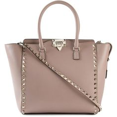 Valentino Garavani trapeze tote (5.200.675 COP) ❤ liked on Polyvore featuring bags, handbags, tote bags, leather purses, tote handbags, tote purses, zip top tote bag and brown leather tote