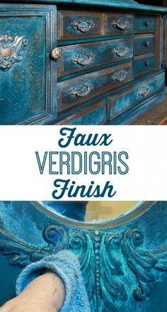 Faux Verdigris Finish Paint Technique!