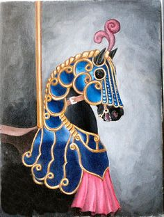 Blue Beauty Carousel Horse painting