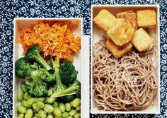 Stir-fried Tofu with Sesame Soba **this was very good**.  Noodles and Ginger-Carrot Broccoli ** although this is bento box recipe I'm making for a dinner**