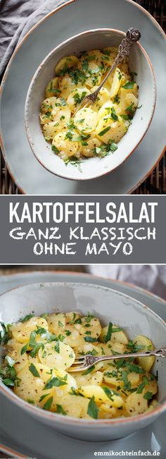 Klassischer Kartoffelsalat ganz einfach gemacht - emmikochteinfach Potato Salad Without Mayo The quick and easy recipe with no frills. The perfect side dish for fish and meat. The potato salad that al Potato Salad Without Mayo, Side Dishes For Fish, Homemade Cookbook, Plats Healthy, Classic Potato Salad, Salad Recipes, Healthy Recipes, Healthy Desserts, Meat Recipes