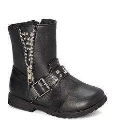 Black & Silver Studded Moto Boot - Kids #zulily #zulilyfinds