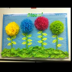 Bulletin board for back to school: friendships bloom at school (or something along those lines) and each leaf has a child's name on it.  Could be super cute!