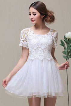 ROMWE   Lace Mesh Two-piece White Dress, The Latest Street Fashion  #RomwePartyDress.