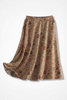 Vine & Medallion Reversible Skirt, Brown
