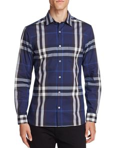 Burberry Nelson Stretch Button Down Shirt - Slim Fit