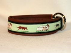 collar with kelpies and brown leather - made by youdids-dogdesign