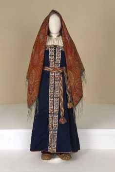 ol<  estive female costume. Second half of the 19th century. Russians. Tver Province