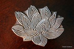 Hand Carved Indian Wood Textile Stamp Block- Water Lily. $17.00, via Etsy.