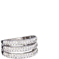 Yeidid Swarovski® Crystal & White Gold Stack Ring ($13) ❤ liked on Polyvore featuring jewelry, rings, stackable rings, 18k white gold ring, band jewelry, layered rings and white gold jewelry