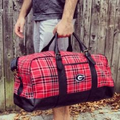 d76d8eb0381 Weekend Bag - University of Georgia  69.99 Tartan and leather adjustable  strap duffle bag. Wear