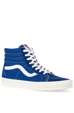 The SK8 Hi Reissue in Vintage Blue & Marshmallow - By Vans - http://www.westcoastclothingco.com/retailers/karmaloop/the-sk8-hi-reissue-sneaker-vintage-true-blue-marshmallow.html