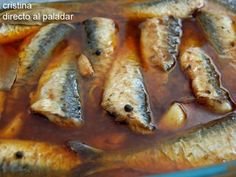 Sardinas en escabeche Spanish Dishes, Spanish Cuisine, Spanish Tapas, Fish Recipes, Seafood Recipes, Mexican Food Recipes, Cooking Recipes, Seafood Dishes, Fish And Seafood
