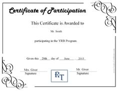 Free Certificate Of Participation Customize Online Print Creative  Certificates  Free Certificate Of Participation Template