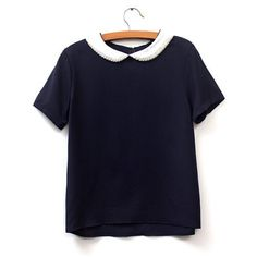 Preppy Style Peter Pan Collar Short Sleeve Beaded Color Block Women s... ($13) ❤ liked on Polyvore featuring tops, blouses, purplish blue, short sleeve blouse, blue blouse, color block top, preppy tops and blue top