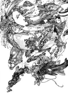 Opened recently at Compound Gallery is the solo exhibition'Terra's Black Marker' by Japanese artist Katsuya Terada. Ink Illustrations, Illustration Art, Manga Art, Anime Art, Art Sketches, Art Drawings, Tinta China, Artist Gallery, Japanese Artists