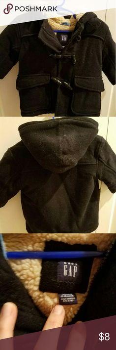 Gap pea coat EUC, black pea coat with tan fur. Very heavy and warm. Like all pea coats it needs to be lint rolled. GAP Jackets & Coats Pea Coats