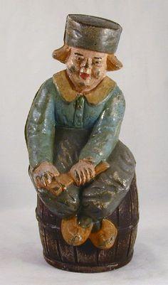 Antique Large Cast Iron Still Penny Bank Dutch Boy on Barrel By Hubley