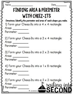 Last month, we hadbeen working on identifying area and perimeter in math. So, I thought a fun activity to wrap up our unitcould be this Cheez-It activity I saw on Fourth Grade Math, Second Grade Math, Grade 3, Sixth Grade, Maths 3e, Math Math, Math Night, Math Measurement, Math Intervention