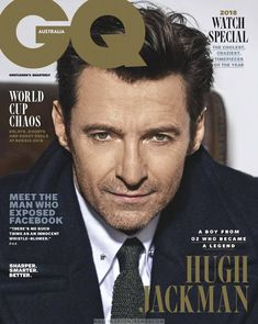"""Hugh Jackman covers the June/July 2018 issue of GQ Australia magazine photographed by Ben Watts. On his industry of late: """"Making it Hugh Jackman, Hugh Michael Jackman, Gq Magazine Covers, Gq Australia, Australian Actors, Australian People, Cover Style, Sundance Film, Cute Actors"""
