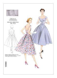 Vogue Vintage, Vintage Vogue Patterns, Vogue Sewing Patterns, Vintage Models, Party Mode, Button Front Dress, Miss Dress, 1950s Fashion, Swing Dress