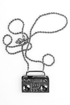 Baby Ghettoblaster    Han Cholo    #hancholo #ghettoblaster #gunmetal #jewelry http://shop.hancholo.com/jzv/p/98/Ghetto+Blaster+Necklace?p=c3E9Z2hldHRv
