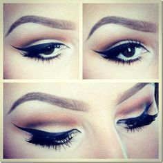 Looking for a thick cat eye inspiring look? Check this out! Visit Beauty.com for liquid eyeliner that will make your brown eyes stand out.