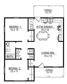 2 Bedroom Home i like this floor plan. 700 sq ft 2 bedroom floor plan | build or