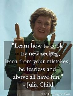 Julia Child - the first celebrity chef I started following. woman only club thank god my brain can't sing  or dance without the rest of me but if I snap - run  cheers creme puff