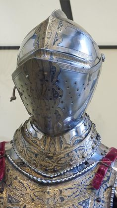 Closeup of Helmet of Holy Roman Emperor Maximilian II of Austria 1550-1560 CE etched partially blackened and gilded steel (3)